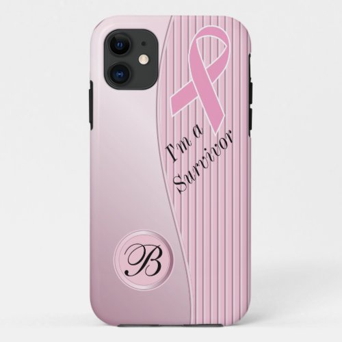 Pink Stripes Breast Cancer Survivor | DIY Monogram Phone Case
