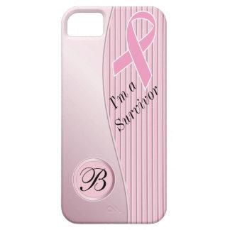 Pink Stripes Breast Cancer Survivor | DIY Monogram iPhone SE/5/5s Case