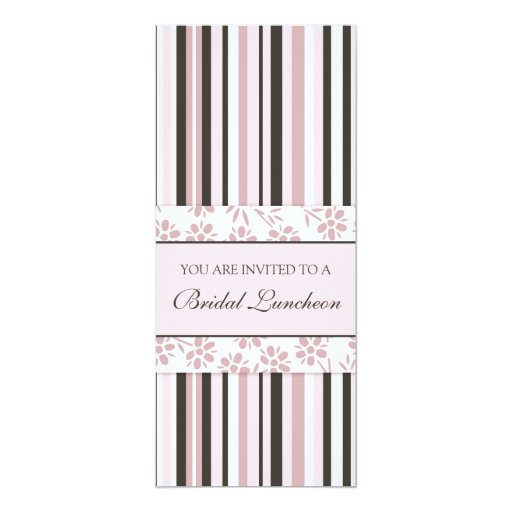 "Pink Stripes Bridal Luncheon Invitation Cards 4"" X 9.25"" Invitation Card"