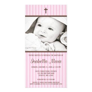 Pink Stripes Brown Cross Girl Baptism Photo Card