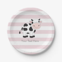 Pink Stripes Cow Party Paper Plates