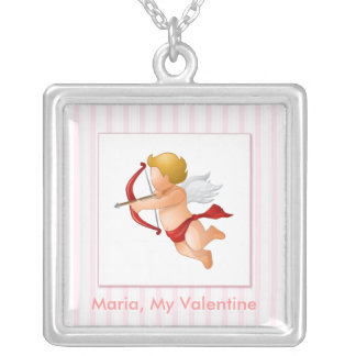 Pink Stripes - Cupid with Arrow Square Pendant Necklace