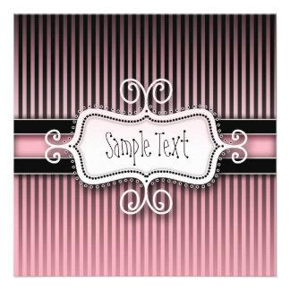 Pink Stripes Custom Invitation
