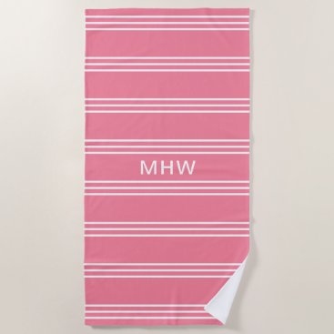 Beach Themed Pink Stripes custom monogram beach towel
