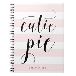 Pink Stripes Cutie Pie Calligraphy Personalized Notebook