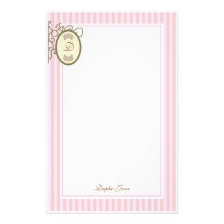 Pink Stripes Dainty - Monogram Stationary Personalized Stationery