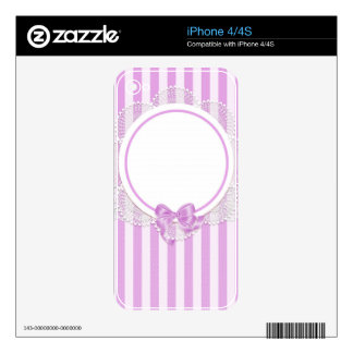 Pink Stripes Delicate Bridal or Baby Shower iPhone 4S Skins