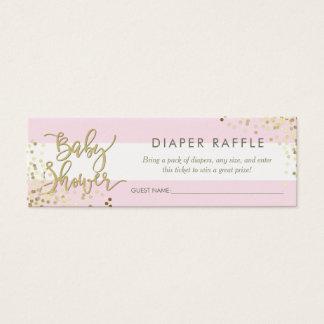 Pink Stripes Diaper Raffle Gold Script & Confetti Mini Business Card