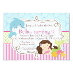 Pink Stripes, Dolphin and Mermaid Birthday Party Card