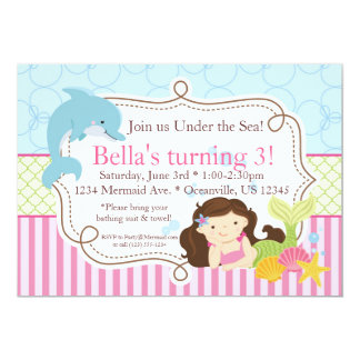 Pink Stripes, Dolphin and Mermaid Birthday Party Invite