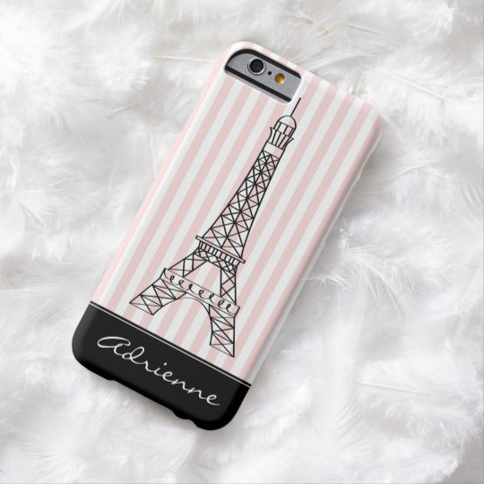 Pink Stripes Eiffel Tower Barely There iPhone 6 Case
