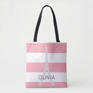 Pink Stripes Eiffel Tower | Custom Name Tote Bag