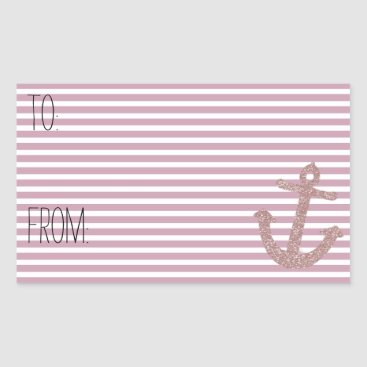 Beach Themed Pink Stripes Faux Glitter Anchor Gift Tag