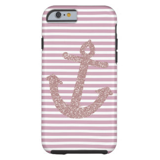 Pink Stripes Faux Glitter Anchor Tough iPhone 6 Case