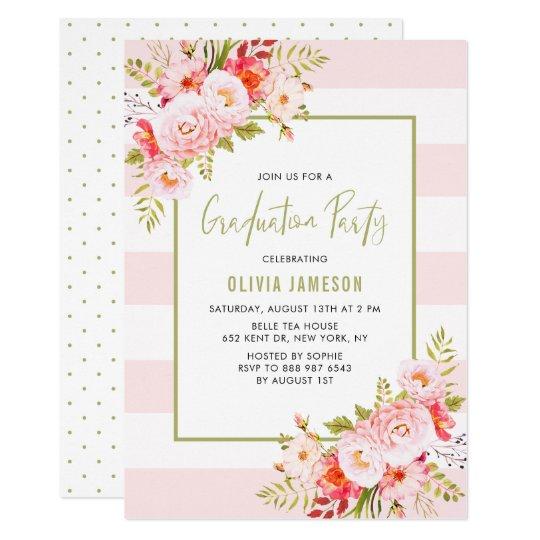 pink stripes floral graduation party invitation zazzle com