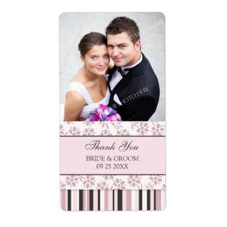 Pink Stripes Floral Photo Wedding Labels