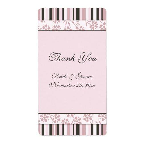 Pink Stripes Floral Wedding Labels
