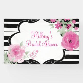 Pink, Stripes, Flowers, Bridal Shower Banner