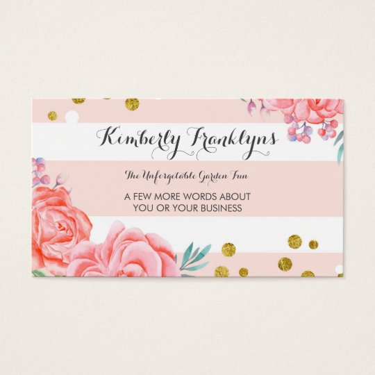 Pink stripes flowers gold confetti watercolor business for Flower business cards