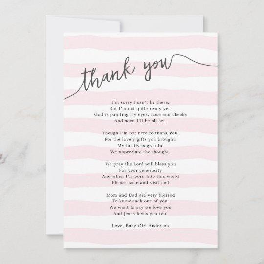 Pink Stripes Girl Baby Shower Poem Thank You Card Zazzlecom