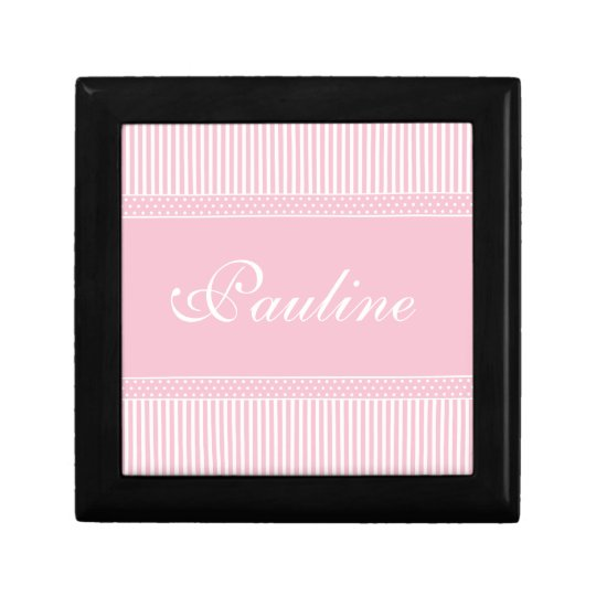 Pink Stripes girls name initial P  jewelry box