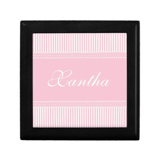 Pink Stripes girls name initial X  jewelry box