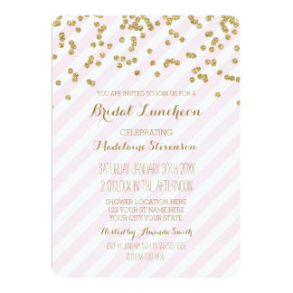 Pink Stripes Gold Bridal Lunch Invitations
