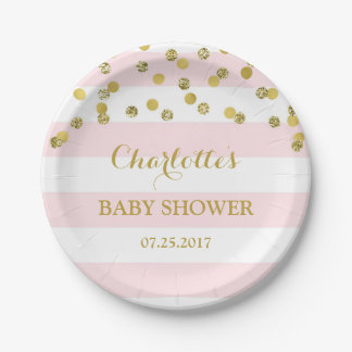 Pink Stripes Gold Confetti Baby Shower Plate