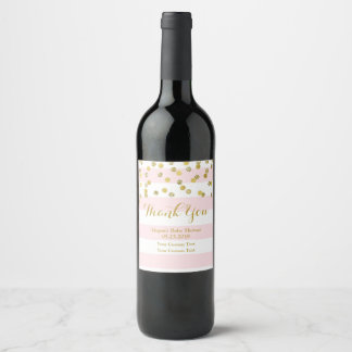 Pink Stripes Gold Confetti Baby Shower Wine Label
