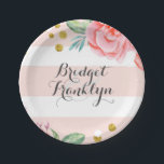 "Pink Stripes Gold Confetti Watercolor Flowers Paper Plate<br><div class=""desc"">Elegant and classy pink stripes and flowers - gold confetti dots wedding paper plates</div>"