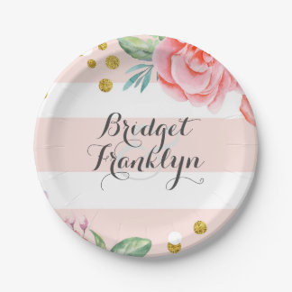 Pink Stripes Gold Confetti Watercolor Flowers Paper Plate