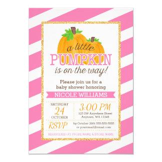 Pink Stripes Gold Little Pumpkin Fall Baby Shower Card