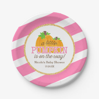 Pink Stripes Gold Little Pumpkin Fall Baby Shower Paper Plate