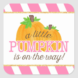 Pink Stripes Gold Little Pumpkin Fall Baby Shower Square Sticker