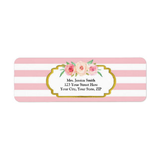 Pink Stripes Gold Pink Floral Return Address Label