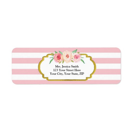 Pink Stripes Gold Pink Floral Return Address Label