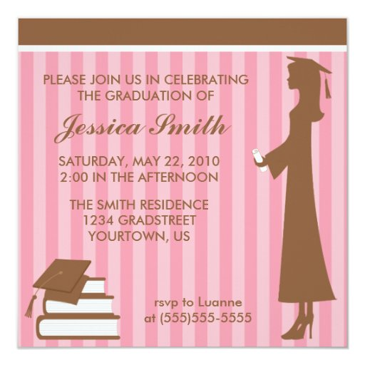 Pink Stripes Graduation Card