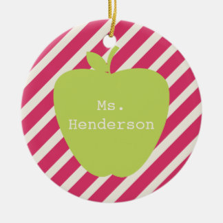 Pink Stripes & Green Apple Teacher Ceramic Ornament