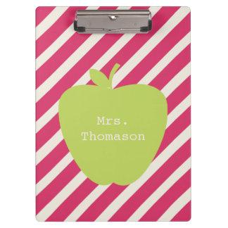 Pink Stripes Green Apple Teacher Clipboard