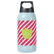 Pink Stripes & Green Apple Teacher Insulated Water Bottle