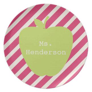 Pink Stripes & Green Apple Teacher Party Plate