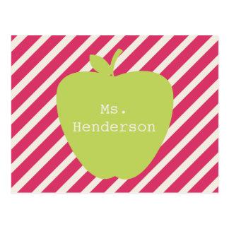 Pink Stripes & Green Apple Teacher Postcard