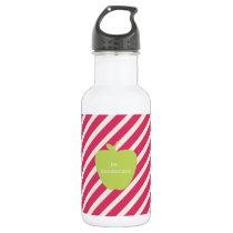Pink Stripes & Green Apple Teacher Stainless Steel Water Bottle