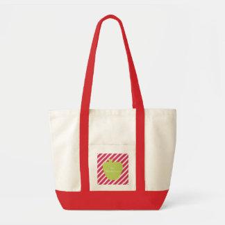 Pink Stripes & Green Apple Teacher Tote Bag