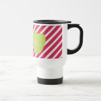 Pink Stripes & Green Apple Teacher Travel Mug