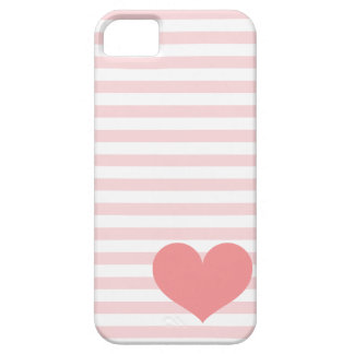 Pink Stripes & Heart iPhone 5 Case