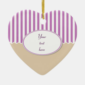 Pink Stripes Heart Ornament