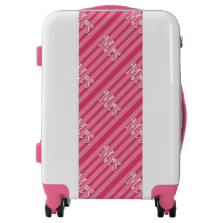 Pink Stripes Hers Mrs. Luggage