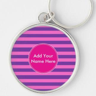 Pink Stripes Large Premium Round Keychain