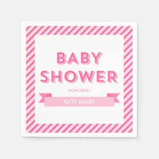 Pink Stripes Modern Baby Shower Paper Napkin